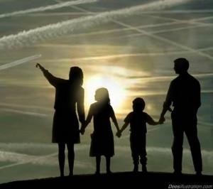 Chemtrail - family outside breathing poison